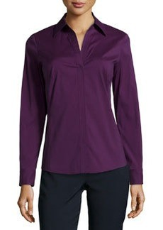 Lafayette 148 New York Poplin Split-Neck Blouse, Eggplant