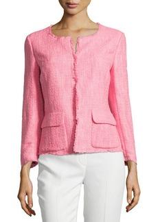 Lafayette 148 New York Portia Fringe-Trim Boucle Jacket, Primrose