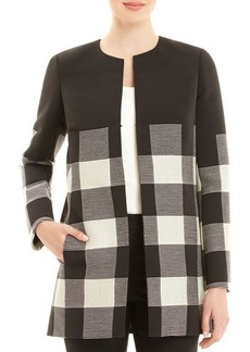 Lafayette 148 New York Pria Checkered Long Coat