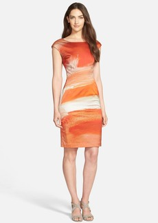 Lafayette 148 New York Print Tech Satin Sheath Dress