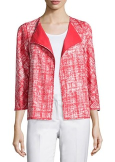 Lafayette 148 New York Printed 3/4-Sleeve Open-Front Topper Jacket