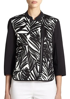 Lafayette 148 New York Printed Asymmetrical-Zip Jacket