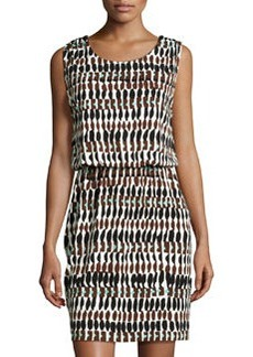 Lafayette 148 New York Printed Drape-Back Sleeveless Dress, Black/Multi