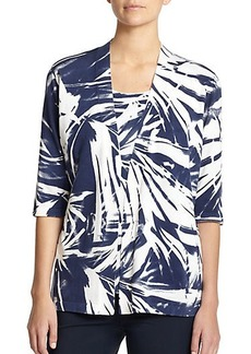Lafayette 148 New York Printed Open Cardigan
