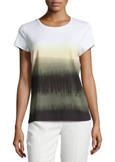 Lafayette 148 New York Printed Scoop-Neck Tee, Scallion/Multi