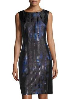 Lafayette 148 New York Printed Sheath Dress with Faux-Leather Trim