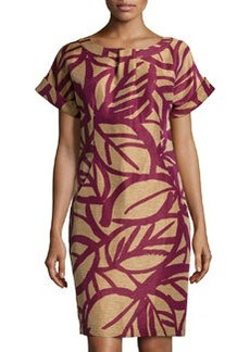 Lafayette 148 New York Printed Short-Sleeve Shift Dress, Chai/Multi