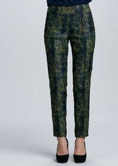 Lafayette 148 New York Printed Skinny Pintucked Pants