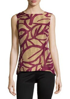 Lafayette 148 New York Printed Sleeveless High-Low Top, Chai/Multi