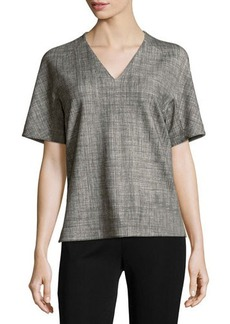 Lafayette 148 New York Printed V-Neck Half-Sleeve Tunic