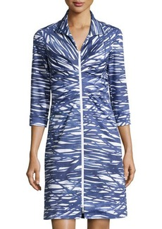 Lafayette 148 New York Printed Zip-Front 3/4-Sleeve Dress