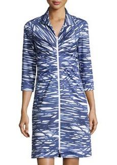 Lafayette 148 New York Printed Zip-Front 3/4-Sleeve Dress, Luna/Multi