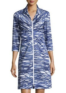 Lafayette 148 New York Printed Zip-Front 3/4-Sleeve Dress, Luna/Multi