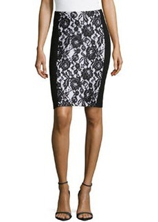 Lafayette 148 New York Priscilla Contrast Lace-Panel Ponte Skirt, Black