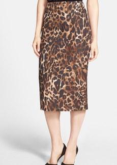 Lafayette 148 New York 'Priscilla' Leopard Print Midi Skirt