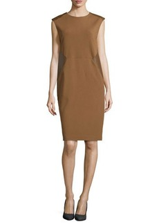 Lafayette 148 New York Punto Milano Leather-Inset Dress