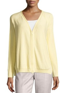 Lafayette 148 New York Raglan V-Neck Zip-Front Cardigan