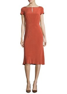 Lafayette 148 New York Raine Sueded Silk Keyhole Dress, Chili Red