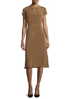 Lafayette 148 New York Raine Sueded Silk Keyhole Dress, Coconut