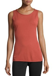 Lafayette 148 New York Raw-Edge Knit Tank, Chili Red