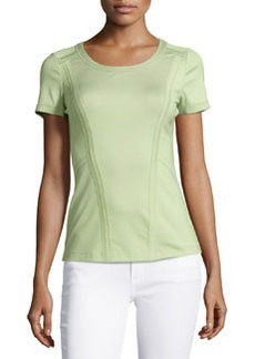 Lafayette 148 New York Raw-Edge Stretch-Jersey Tee, Palm