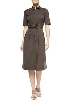 Lafayette 148 New York Rayanne Half-Sleeve Shirtdress W/ Tie Belt
