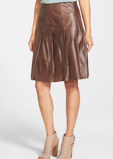 Lafayette 148 New York 'Rayden' Pleat Lambskin Leather Skirt