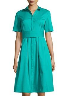 Lafayette 148 New York Rayenne Belted Short-Sleeve Shirtdress
