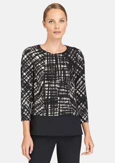 Lafayette 148 New York 'Reese' Print Stretch Wool Blouse