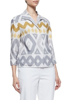 Lafayette 148 New York Reina Printed Topper Jacket, Raffia Multi