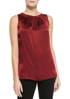 Lafayette 148 New York Renee Sleeveless Silk Pleated Blouse