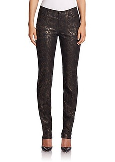 Lafayette 148 New York Reptile-Pattern Metallic Jeans