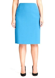 Lafayette 148 New York Revelin Crepe Pencil Skirt, Pacific, Women's