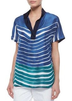 Lafayette 148 New York Reyn Short-Sleeve Printed Silk Blouse