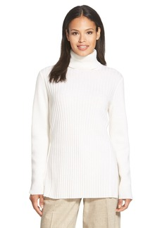 Lafayette 148 New York Ribbed Cashmere Turtleneck Sweater