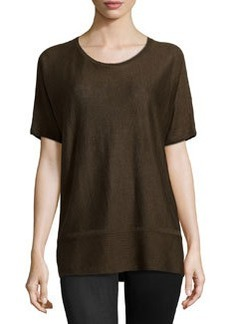 Lafayette 148 New York Ribbed-Hem Short-Sleeve Sweater, Espresso