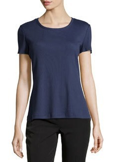 Lafayette 148 New York Ribbed Jewel-Neck Tee, Navy