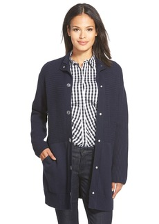 Lafayette 148 New York Ribbed Snap Front Sweater Coat