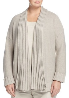 Lafayette 148 New York Plus Ribbed-Trim Link-Stitch Cardigan