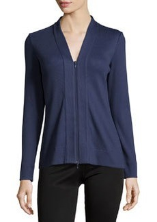 Lafayette 148 New York Ribbed V-Neck Zip-Front Cardigan, Navy