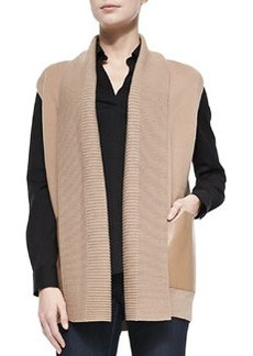 Lafayette 148 New York Ribbed Vest with Faux-Leather Pockets