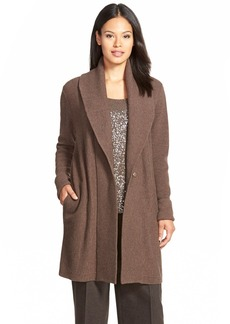 Lafayette 148 New York Ribbed Wool Long Shawl Collar Cardigan