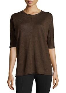Lafayette 148 New York Rolled-Trim Linen Sweater, Espresso