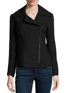 Lafayette 148 New York Rosario Asymmetric-Zip Boucle Jacket, Black