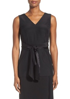 Lafayette 148 New York 'Roxanne' Sleeveless Matte Silk Tie Wrap Blouse
