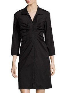 Lafayette 148 New York Ruched 3/4-Sleeve Dress, Black