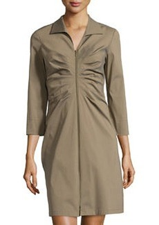 Lafayette 148 New York Ruched 3/4-Sleeve Dress, Fatigue