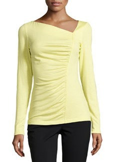 Lafayette 148 New York Ruched-Front Long-Sleeve Jersey Tee, Lemonade