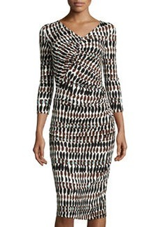 Lafayette 148 New York Ruched Printed Midi Dress, Black/Multi