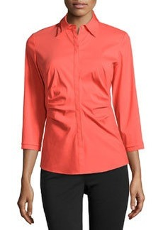 Lafayette 148 New York Ruched Side 3/4-Sleeve Blouse, Day Glow